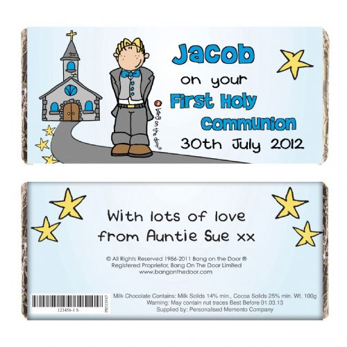 Personalised Bang On The Door First Holy Communion Boys Chocolate Bar
